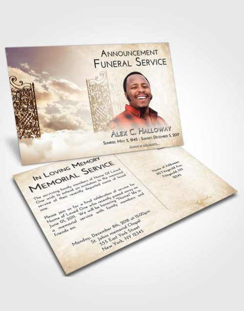 Funeral Announcement Card Template Golden Peach Pearly Gates of Heaven