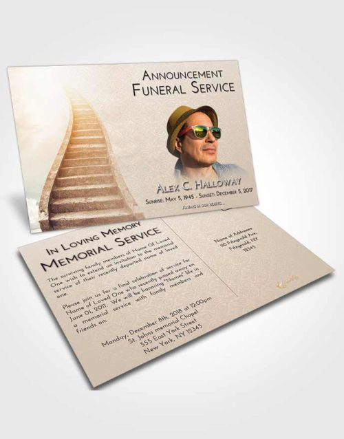 Funeral Announcement Card Template Golden Peach Stairway to Bliss