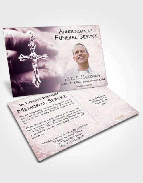 Funeral Announcement Card Template Lavender Sunrise Rosary Life