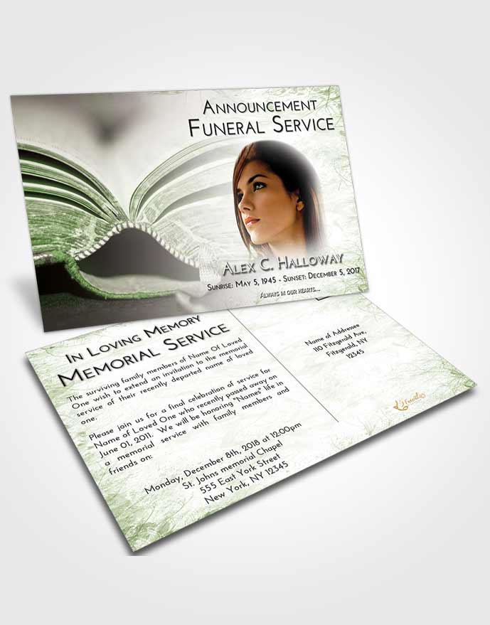 Funeral Announcement Card Template Loving Bible Love
