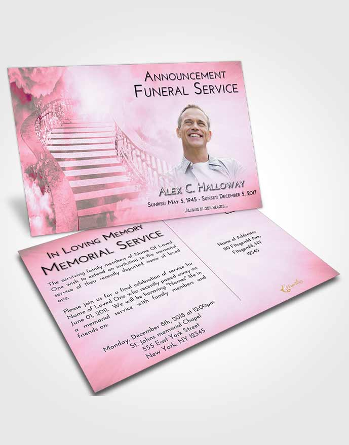 Funeral Announcement Card Template Pink Faith Stairway to Freedom