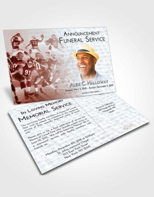 Funeral Announcement Card Template Ruby Love Football Destiny