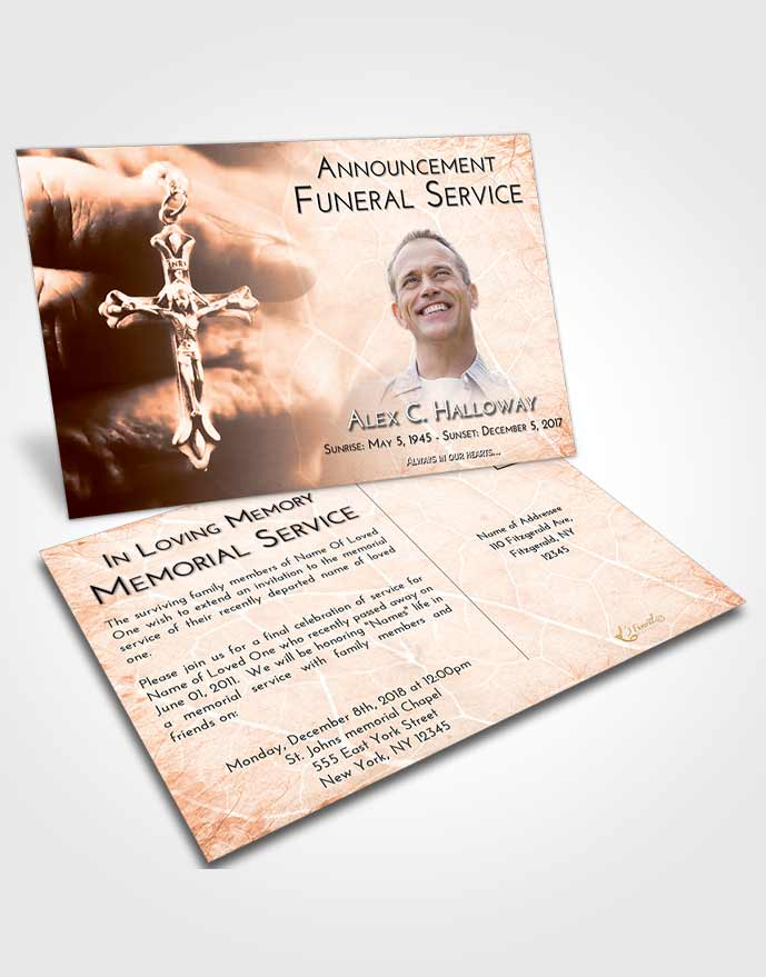 Funeral Announcement Card Template Vintage Love Rosary Life