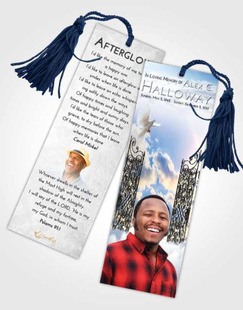 Funeral Bookmark Template Early Pearly Gates of Heaven