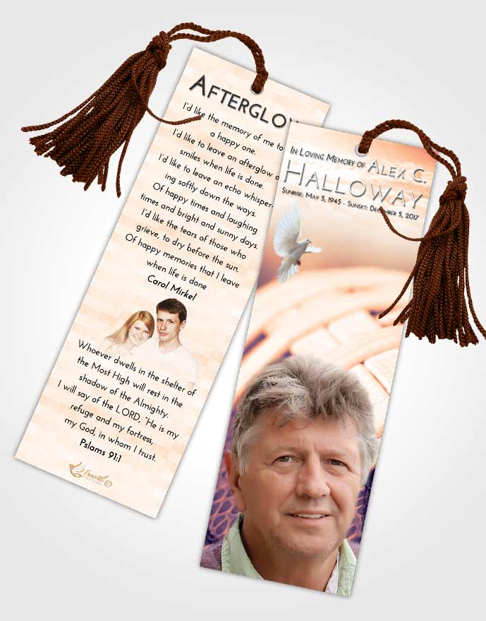 Funeral Bookmark Template Lavender Sunset Football Life