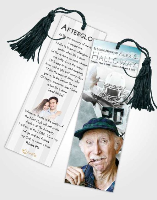 Funeral Bookmark Template Loving Embrace Football Honor