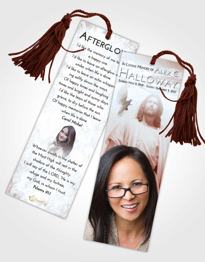 Funeral Bookmark Template Ruby Love Jesus in the Clouds
