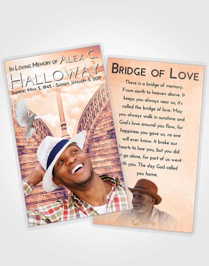 Funeral Prayer Card Template Lavender Sunset Stairway of Love