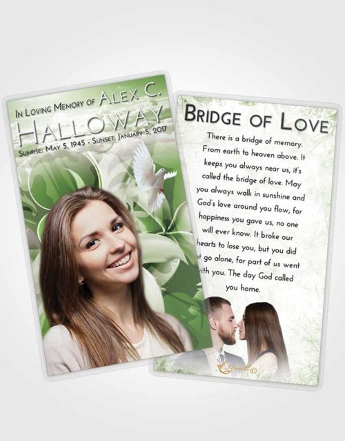 Funeral Prayer Card Template Loving Floral Wish