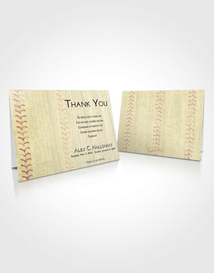 Funeral Thank You Card Template At Dusk Baseball Honor