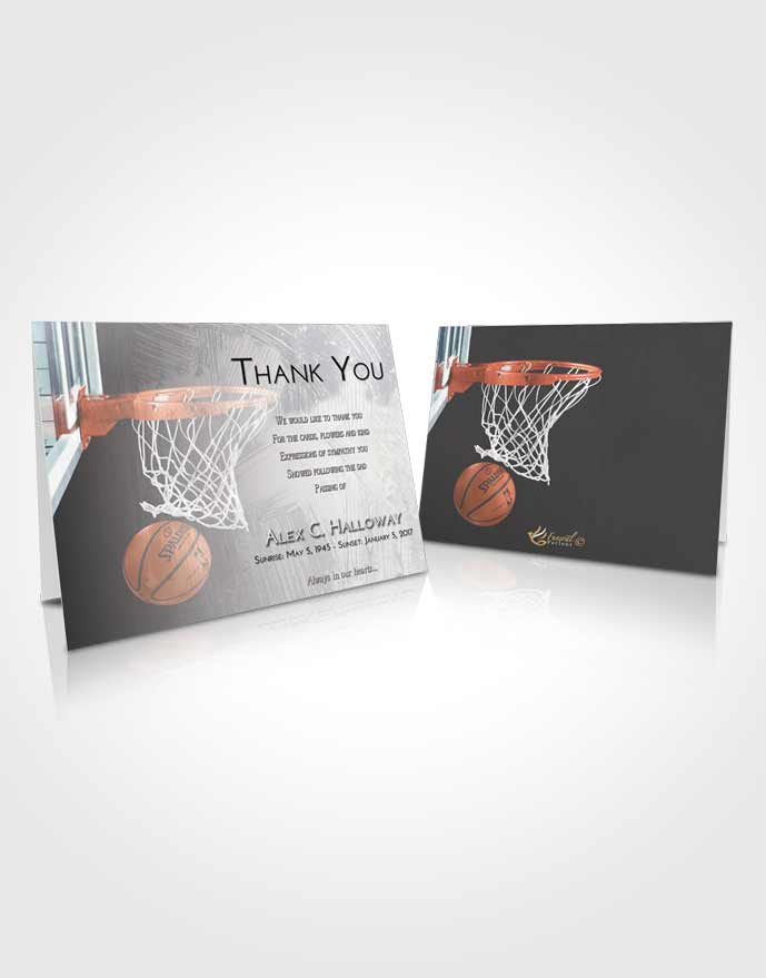 Funeral Thank You Card Template Early Basketball Journey