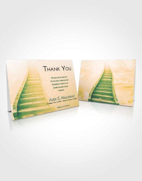 Funeral Thank You Card Template Emerald Serenity Stairway to Bliss