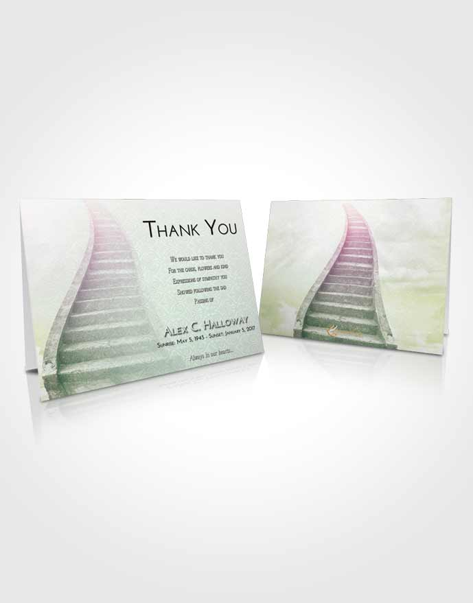 Funeral Thank You Card Template Emerald Sunrise Stairway to Bliss