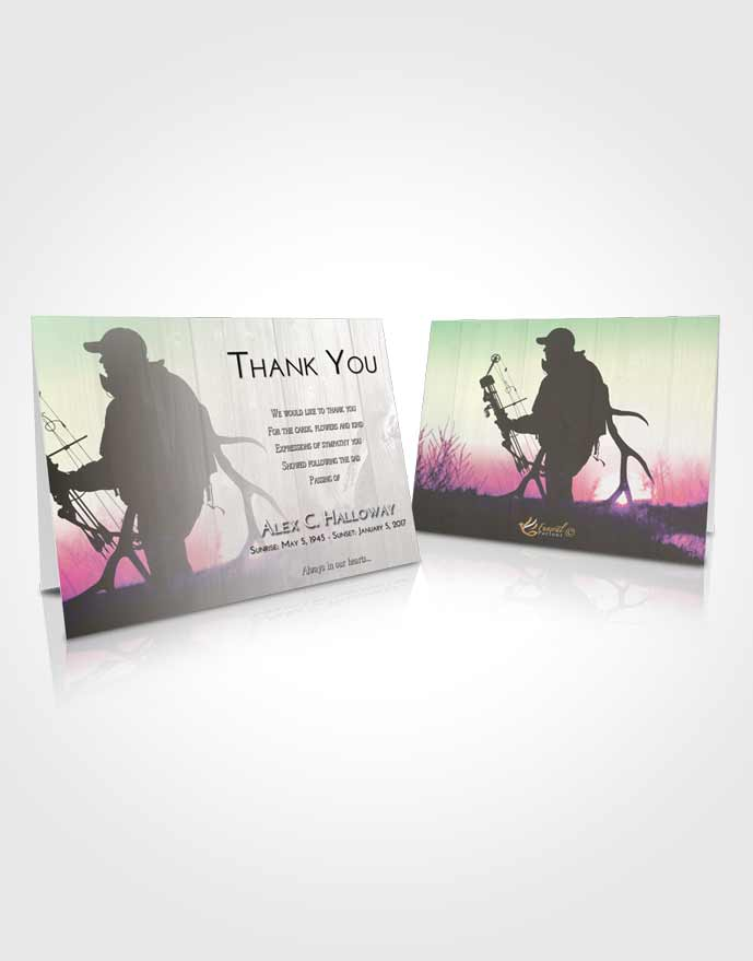 Funeral Thank You Card Template Emerald Sunrise The Hunt