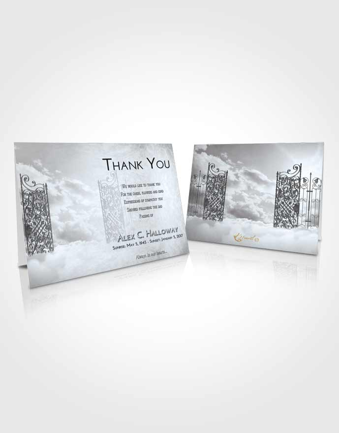 Funeral Thank You Card Template Freedom Pearly Gates of Heaven