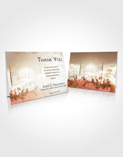 Funeral Thank You Card Template Golden Peach Flowery Gates to Heaven