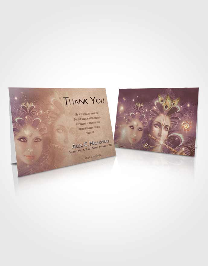 Funeral Thank You Card Template Golden Peach Hindu Desire