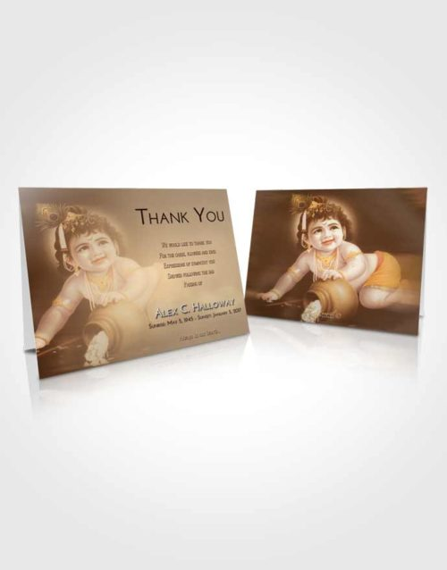 Funeral Thank You Card Template Golden Peach Lord Krishna Divinity