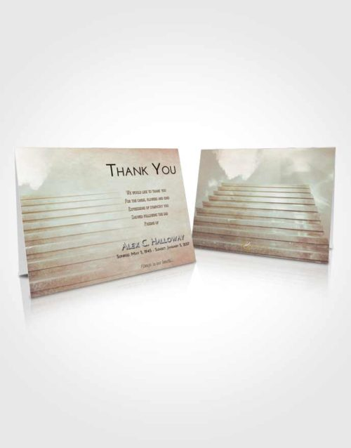 Funeral Thank You Card Template Golden Peach Stairway Into the Sky