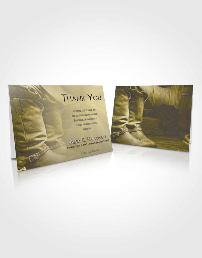 Funeral Thank You Card Template Harmony Cowboy Love