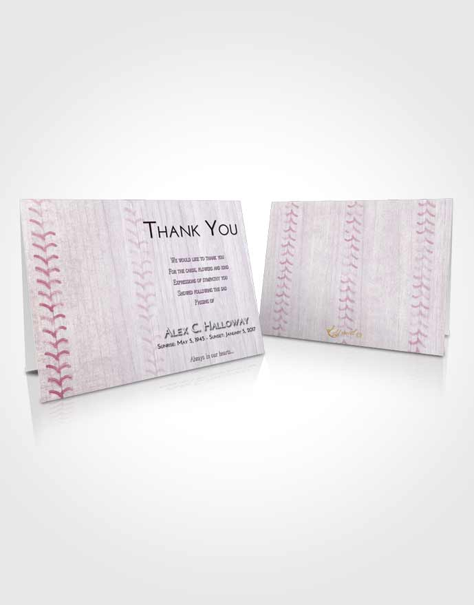 Funeral Thank You Card Template Lavender Sunrise Baseball Honor
