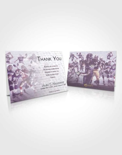 Funeral Thank You Card Template Lavender Sunrise Football Destiny