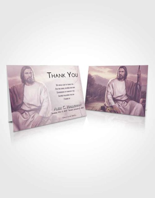 Funeral Thank You Card Template Lavender Sunrise Jesus Prayers