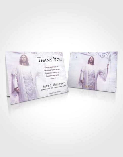 Funeral Thank You Card Template Lavender Sunrise Jesus in the Clouds