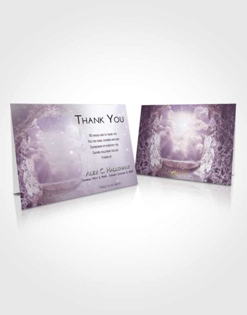 Funeral Thank You Card Template Lavender Sunrise Rocky Gates to Heaven
