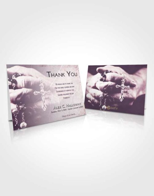 Funeral Thank You Card Template Lavender Sunrise Rosary Life