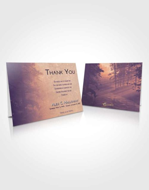 Funeral Thank You Card Template Lavender Sunset Deer Hunt
