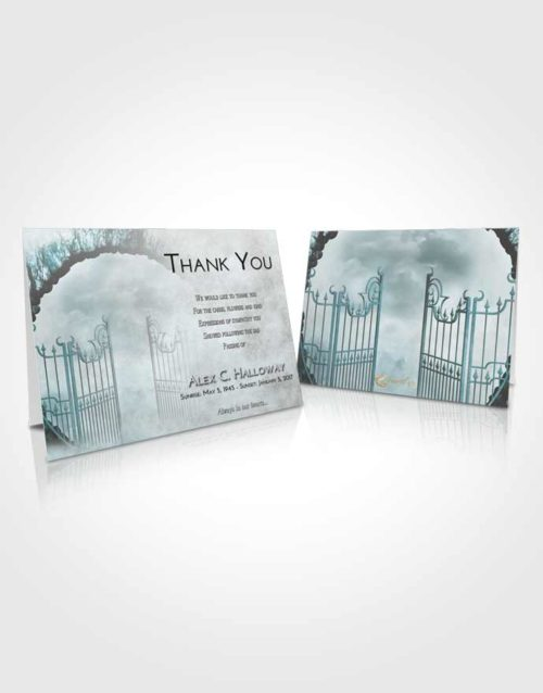 Funeral Thank You Card Template Loving Embrace Mystical Gates of Heaven