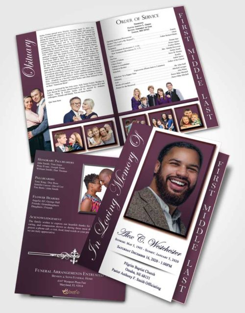 2 Page Graduated Step Fold Funeral Program Template Brochure Calm Radiance