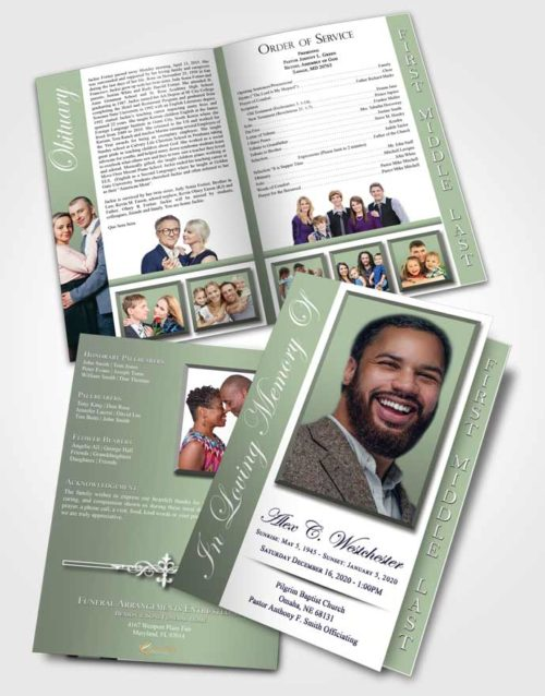 2 Page Graduated Step Fold Funeral Program Template Brochure Passionate Radiance