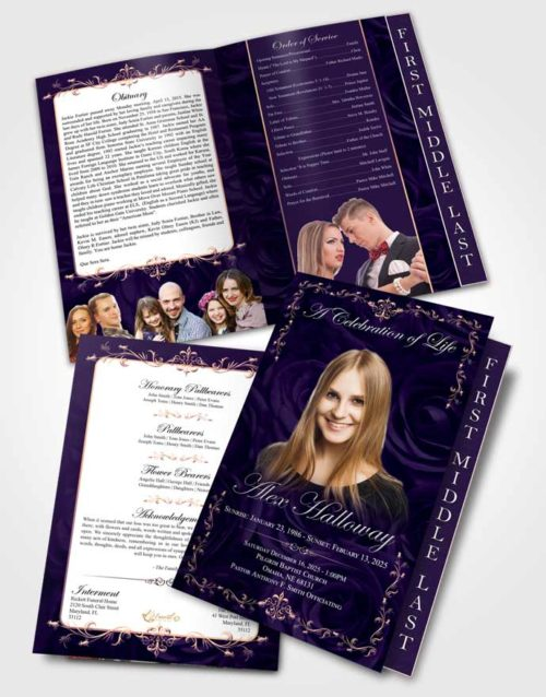 2 Page Graduated Step Fold Funeral Program Template Smooth Afternoon Royal Rose
