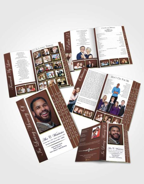 4 Page Grad Obituary Template Brochure Composed Radiance