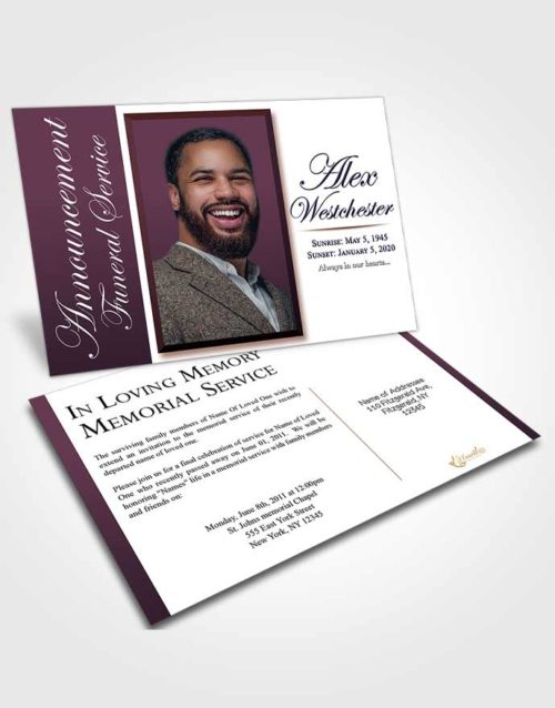 Funeral Announcement Card Template Calm Radiance