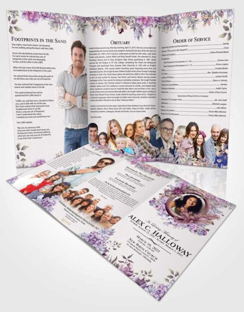 Obituary Template Trifold Brochure Brilliant Afternoon Succulents