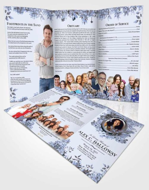 Obituary Template Trifold Brochure Exclusive Afternoon Succulents