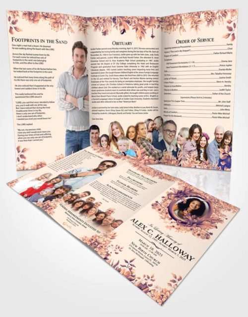 Obituary Template Trifold Brochure Gentle Afternoon Succulents